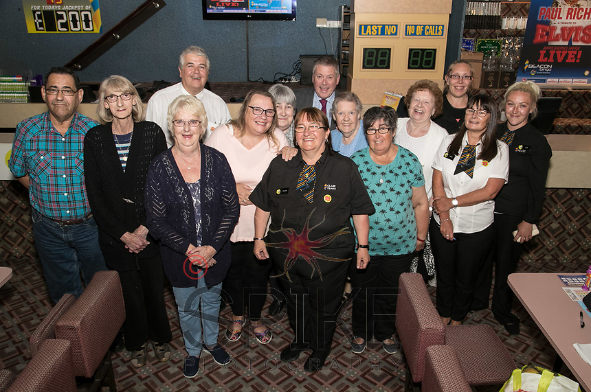 Brenda Ancliff retires from Beacon Bingo in Ilkeston after 30 years. Brenda is pictured centre surrounded by fellow staff and customers