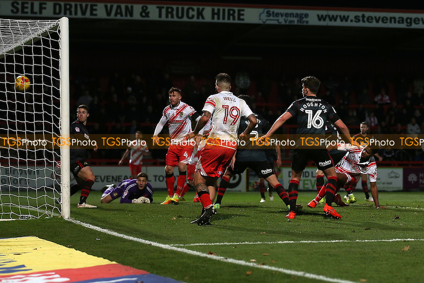 Rowan Liburd of Stevenage scores the third goal for his team during Stevenage vs Doncaster Rovers, Sky Bet EFL League 2 Football at the Lamex Stadium on 3rd December 2016