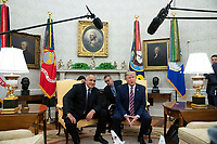 US President Donald J. Trump (R) and Prime Minister of Bulgaria Boyko Borisov (L) deliver remarks to members of the news media during their meeting in the Oval Office of the White House in Washington, DC, USA, 25 November 2019. Trump hosts Borisov to discuss security among the NATO allies and stability in the Black Sea region.<br /> Credit: Michael Reynolds / Pool via CNP/AdMedia