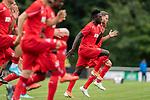 20.07.2019, Heinz-Dettmer-Stadion, Lohne, GER, Interwetten Cup, VfL Osnabrueck vs 1. FC Koeln<br /> <br /> im Bild<br /> Kingsley Schindler (Koeln #11), Benno Schmitz (Neuzugang Koeln #02) beim Aufwärmen, <br /> <br /> Foto © nordphoto / Ewert