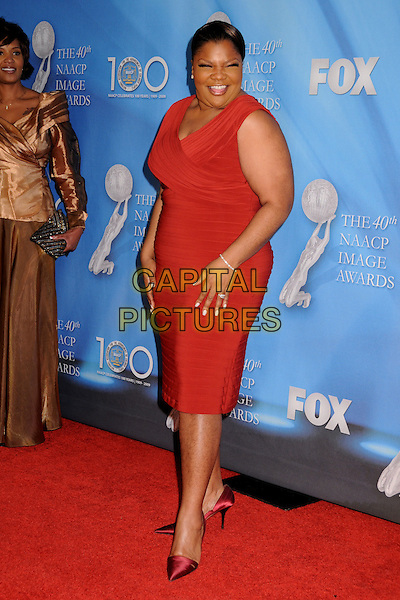 MO'NIQUE.40th Annual NAACP Image Awards - Arrivals at the Shrine Auditorium, Los Angeles, California, USA..February 12th, 2009.full length red dress .CAP/ADM/BP.©Byron Purvis/AdMedia/Capital Pictures.