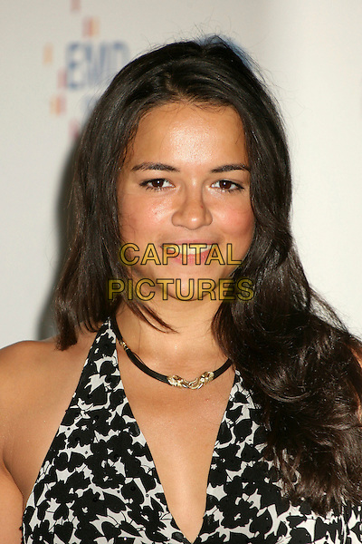 "MICHELLE RODRIGUEZ.14th Annual Race to Erase MS Themed ""Dance to Erase MS"" at the Century Plaza Hotel, Century City, California, USA, 13 April 2007..portrait headshot black and white patterned dress print halterneck .CAP/ADM/BP.©Byron Purvis/AdMedia/Capital Pictures."