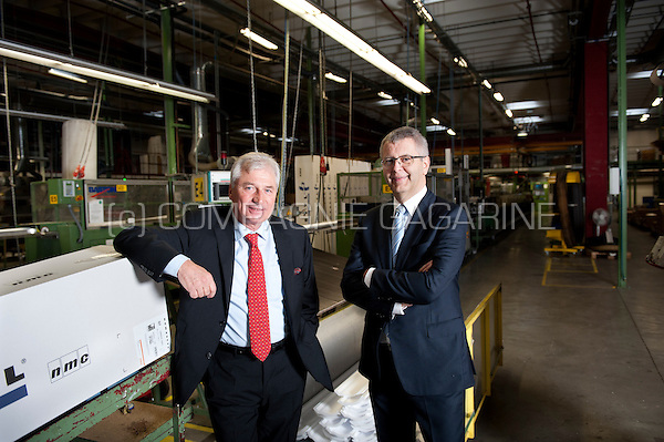Yves Noel with Hubert Bosten, founder, general manager and CEO of the NMC construction company (Belgium, 31/10/2014)