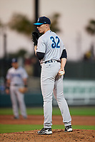 Tampa Tarpons starting pitcher Trevor Stephan (32) looks in for the sign during a game against the Lakeland Flying Tigers on April 5, 2018 at Publix Field at Joker Marchant Stadium in Lakeland, Florida.  Tampa defeated Lakeland 4-2.  (Mike Janes/Four Seam Images)
