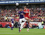 Leon Clarke of Sheffield Utd in action with Dael Fry of Middlesbrough during the Sky Bet Championship match at the Riverside Stadium, Middlesbrough. Picture date: August 12th 2017. Picture credit should read: Jamie Tyerman/Sportimage
