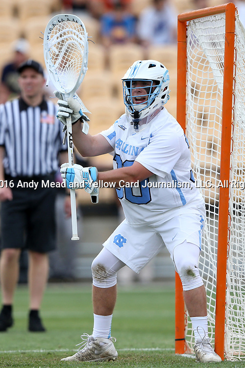 29 April 2016: North Carolina's Brian Balkam. The University of North Carolina Tar Heels played the Syracuse University Orange at Fifth Third Bank Stadium in Kennesaw, Georgia in a 2016 Atlantic Coast Conference Men's Lacrosse Tournament semifinal match.