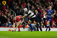 Wales Ken Owens scores his sides fourth try during the International friendly match between Wales and Barbarians at the Principality Stadium in Cardiff, Wales, UK. Saturday 30 November 2019.