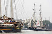 London, UK. 6 September 2014. Pictured: two-masted square-rigged sailing ship<br /> Mercedes at Greenwich. Tall Ships sailing on the River Thames on the second day of the Royal Greenwich Tall Ships Festival 2014.