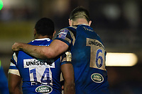 Semesa Rokoduguni of Bath Rugby celebrates his fourth try with team-mate Elliott Stooke. Premiership Rugby Cup match, between Bath Rugby and Gloucester Rugby on February 3, 2019 at the Recreation Ground in Bath, England. Photo by: Patrick Khachfe / Onside Images