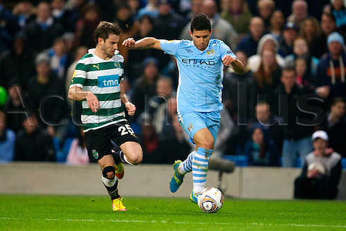 15.03.2012 Manchester, England. Manchester City's Argentinian forward Sergio Aguero in action during the UEFA Europa Cup match between Manchester City v Sporting at the Etihad Stadium.