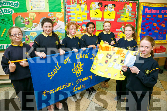 Presentation Primary school tralee won the Student award in the  BOI BIZZ World at the Tralee Enterprise fair in the sports Complex front l-r Caoilinn Hickey, Alannah O'Connell Back L-r Keelin O'Shea, Ailisha Dalton, Olivia Dylan, Tuhaira Haroon, Eve Hennessy
