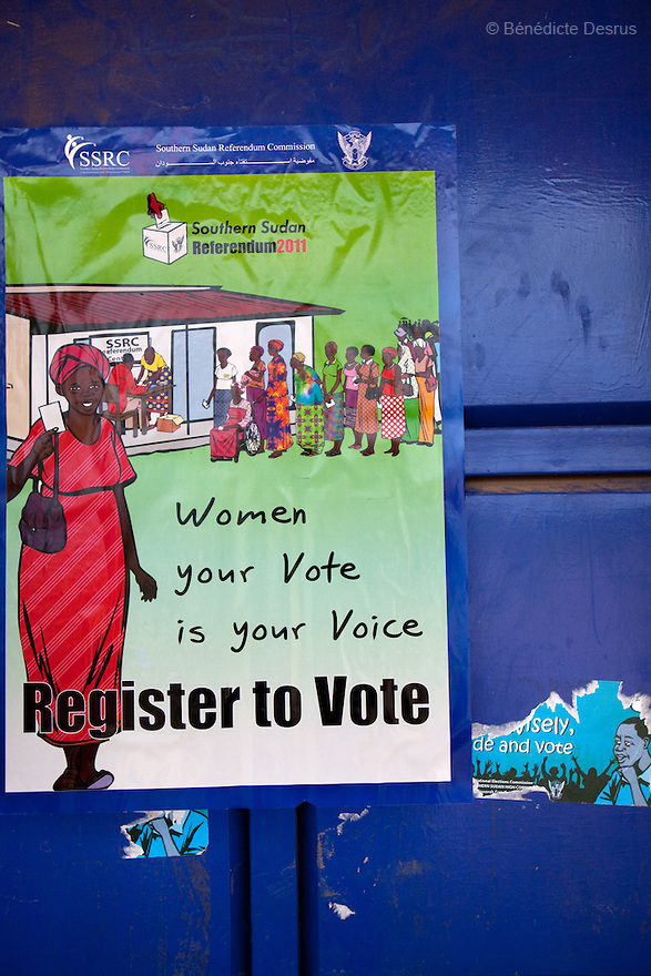 "11 december 2010 - Riwoto, South Sudan - Poster ""register to vote"". The referendum is scheduled to take place on January 9, 2010. Photo credit: Benedicte Desrus"
