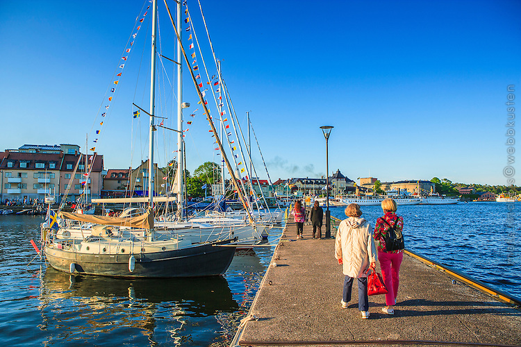 Båtar i gästhamnen vid Vaxholm i Roslagen/ Guest harbor at Vaxholm in Roslagen
