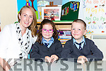 Principal Miriam Madigan with her junior infants Sarah Herlihy and Adam Carroll at Meetogues NS, Glenflesk