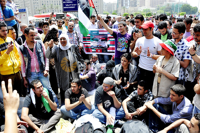"""Egyptian demonstrators gather at Cairo's Tahrir Square on May 14, 2011 during a protest in solidarity with the Palestinians as they mark the """"Nakba"""" or """"catastrophe"""" which befell them following Israel's establishment in 1948. Photo by Ahmed Asad"""