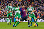 Lionel Andres Messi of FC Barcelona (C)  competes for the ball with Sidnei Rechel Da Silva Junior of Real Betis (L) during the La Liga 2018-19 match between FC Barcelona and Real Betis at Camp Nou, on November 11 2018 in Barcelona, Spain. Photo by Vicens Gimenez / Power Sport Images