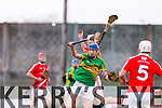 Gerard Stackpool Lixnaw in action against Tony Burke Bruff in the Munster Club Intermediate Hurling Championship Semi Final at Austin STacj Park on Sunday.
