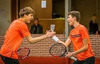 Wateringen, The Netherlands, December 15,  2019, De Rhijenhof , NOJK juniors doubles , Final boys16 years, Winners Brian Bozemoj (NED) and Stijn Paardekooper (NED) (R) celebrate matchpoint<br /> Photo: www.tennisimages.com/Henk Koster