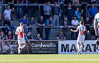 Harry Pell of Cheltenham Town celebrates his goal during the Sky Bet League 2 match between Wycombe Wanderers and Cheltenham Town at Adams Park, High Wycombe, England on the 8th April 2017. Photo by Liam McAvoy.