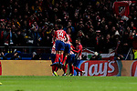 Atletico de Madrid's players celebrate goal during UEFA Champions League match between Atletico de Madrid and Borussia Dortmund at Wanda Metropolitano Stadium in Madrid, Spain. November 06, 2018. (ALTERPHOTOS/A. Perez Meca)