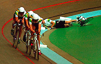 The Australian junior pusuit team loses a member during the final of the 3000 metre team pursuit final at the World Junior Championships in Perth.