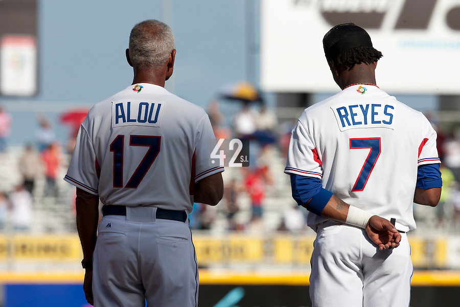 8 March 2009:  Team manager Felipe Alou and #7 Jose Reyes of Dominican Republic are seen during national anthem prior to a game during the 2009 World Baseball Classic Pool D match at Hiram Bithorn Stadium in San Juan, Puerto Rico. Dominican Republic wins 9-0 over Panama.
