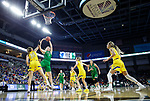 SIOUX FALLS, SD - MARCH 7: Melissa Leet #5 of the North Dakota Fighting Hawks goes up for a jump shot against Megan Bultsma #50 of the South Dakota State Jackrabbits at the 2020 Summit League Basketball Championship in Sioux Falls, SD. (Photo by Richard Carlson/Inertia)