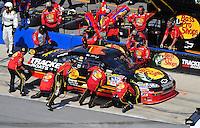 Apr 26, 2009; Talladega, AL, USA; NASCAR Sprint Cup Series driver Martin Truex Jr pits during the Aarons 499 at Talladega Superspeedway. Mandatory Credit: Mark J. Rebilas-