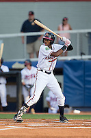 Isranel Wilson (9) of the Danville Braves at bat against the Pulaski Yankees at American Legion Post 325 Field on August 1, 2016 in Danville, Virginia.  The Yankees defeated the Braves 4-1.  (Brian Westerholt/Four Seam Images)
