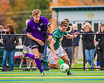 19 October 2013: University of Vermont Catamount Forward Daniel Kuczynski, a Junior from Toronto, Ontario, works against University at Albany Great Dane Defenseman Thomas Manz, a Senior from Bronx, NY, at Virtue Field in Burlington, Vermont. The Catamounts defeated the visiting Danes 2-1. Mandatory Credit: Ed Wolfstein Photo *** RAW (NEF) Image File Available ***