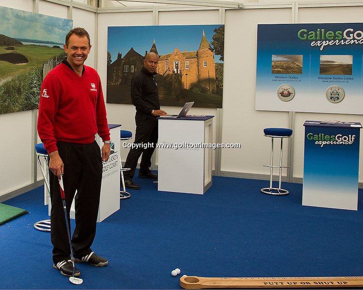 Ex Ryder Cup Player, now T-Pegs coach and TV commentator, Andrew Coltart plays host the the Scottish Golf exhibition at Golf Live 2012 which took place at The London Club, Brands Hatch, Kent from 18th to 20th May 2012: Picture Stuart Adams www.golftourimages.com: 20th May 2012
