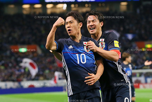 (L to R)<br /> Shinji Kagawa, <br /> Shinji Okazaki (JPN), <br /> MARCH 29, 2016 - Football / Soccer : <br /> FIFA World Cup Russia 2018 Asian Qualifier <br /> Second Round Group E match <br /> between Japan - Syria <br /> at Saitama Stadium 2002, Saitama, Japan. <br /> (Photo by YUTAKA/AFLO SPORT)