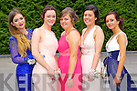 Students at a combined Killarney debs enjoying themselves at the Earl of Desmond Hotel on Thursday night  left to right: Nicola Hughes , Ashling Coffey , Gemma O'Mahony , Amy Walsh , Katie Cotter