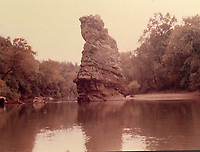 Courtesy photo<br /> Standing Rock was a landmark on the White River upstream from the Arkansas 12 bridge near what is now the Crow's Nest neighborhood. The top of the rock was removed before Beaver Lake filled.