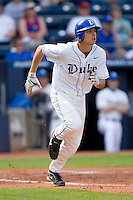 Jeremy Gould #19 of the Duke Blue Devils hustles down the first base line versus the Clemson Tigers at Durham Bulls Athletic Park May 22, 2009 in Durham, North Carolina.  (Photo by Brian Westerholt / Four Seam Images)