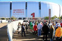 Fans wait to enter into University of Phoenix Stadium for the Fiesta Bowl where Ohio State Buckeyes take on Notre Dame Fighting Irish on January 1, 2016.  (Dispatch photo by Kyle Robertson)