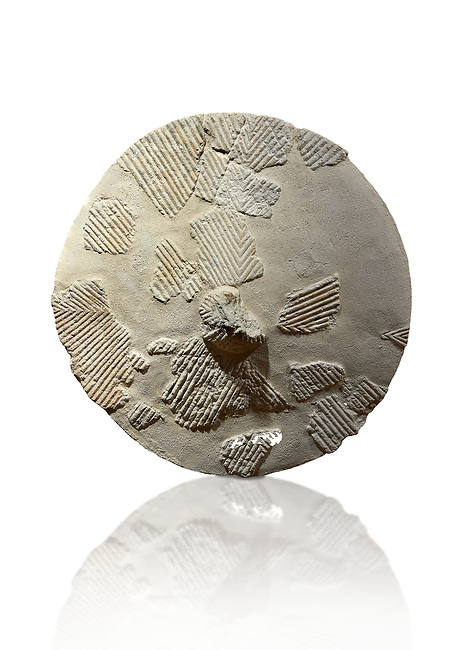 9th century BC Giants of Mont'e Prama  Nuragic stone shield, Mont'e Prama archaeological site, Cabras. Museo archeologico nazionale, Cagliari, Italy. (National Archaeological Museum) - White Background