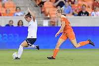 Houston, TX - Thursday Aug. 18, 2016: Christine Nairn, Tessa Florio during a regular season National Women's Soccer League (NWSL) match between the Houston Dash and the Washington Spirit at BBVA Compass Stadium.