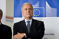 Rome, Italy, October 9, 2015. European Commissioner for Migration and Home Affairs Dimitris Avramopoulos, attends a press conference at Rome's Ciampino airport, after the departure of 19 Eritrean refugees to Sweden aboard an Italian Financial police aircraft. The aircraft, carrying 19 Eritreans, will bring the first refugees to Sweden under the European Union's new resettlement program aimed at redistributing asylum-seekers from hard-hit receiving countries.