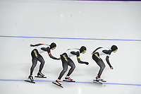 OLYMPIC GAMES: PYEONGCHANG: 18-02-2018, Gangneung Oval, Long Track, Team Pursuit Men, Team Japan, Shane Williamson, Shota Nakamura, Seitaro Ichinohe, ©photo Martin de Jong