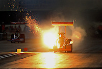 Nov. 10, 2012; Pomona, CA, USA: NHRA top fuel dragster driver Mike Salinas explodes an engine during qualifying for the Auto Club Finals at at Auto Club Raceway at Pomona. Mandatory Credit: Mark J. Rebilas-