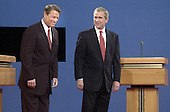 Presidential candidates Democratic Vice President Al Gore, left, and Republican Texas Governor George W. Bush arrive on stage for their first debate October 3, 2000 at the University of Massachusetts in Boston, Massachusetts. <br /> Credit: Darren McCollester / Pool via CNP