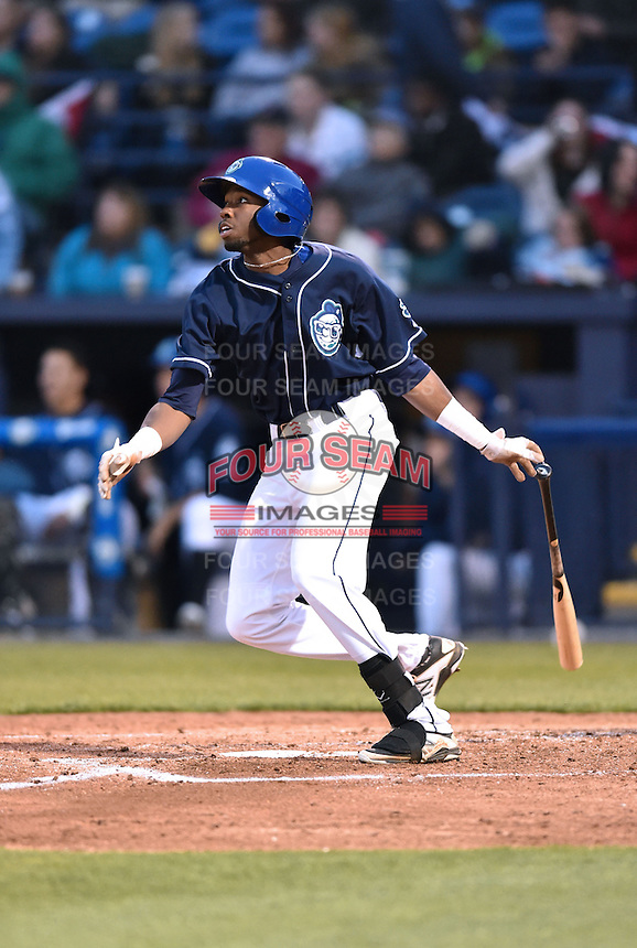 Asheville Tourists center fielder Wes Rogers (24) swings at a pitch during a game against the Greenville Drive on April 16, 2015 in Asheville, North Carolina. The Tourists defeated the Drive 5-4. (Tony Farlow/Four Seam Images)