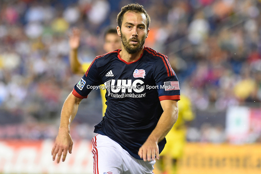 July 26, 2014 - Foxborough, Massachusetts, U.S. - New England Revolution defender A.J. Soares (5) chases the ball  during the MLS game between the Columbus Crew and the New England Revolution held at Gillette Stadium in Foxborough Massachusetts. Columbus defeated New England 2-1. Eric Canha/CSM