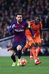 UEFA Champions League 2018/2019.<br /> Round of 16 2nd leg.<br /> FC Barcelona vs Olympique Lyonnais: 5-1.<br /> Lionel Messi vs Tanguy Ndombele.