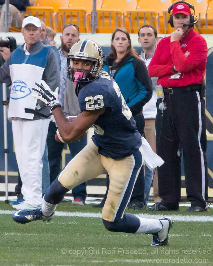 Pitt wide receiver Tyler Boyd. The Georgia Tech Yellow Jackets defeated the Pitt Panthers 56-28 at Heinz Field, Pittsburgh Pennsylvania on October 25, 2014.