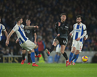 Brighton & Hove Albion's Shane Duffy (left) crosses the ball despite the attentions of Burnley's Jeff Hendrick (right) <br /> <br /> Photographer David Horton/CameraSport<br /> <br /> The Premier League - Brighton and Hove Albion v Burnley - Saturday 9th February 2019 - The Amex Stadium - Brighton<br /> <br /> World Copyright © 2019 CameraSport. All rights reserved. 43 Linden Ave. Countesthorpe. Leicester. England. LE8 5PG - Tel: +44 (0) 116 277 4147 - admin@camerasport.com - www.camerasport.com