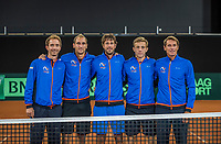 The Hague, The Netherlands, September 13, 2017,  Sportcampus , Davis Cup Netherlands - Chech Republic,  Dutch team, Ltr:  Matwe Middelkoop, Thiemo de Bakker, Robin Haase , Tallon Griekspoor, and Captain Paul Haarhuis.<br /> Photo: Tennisimages/Henk Koster