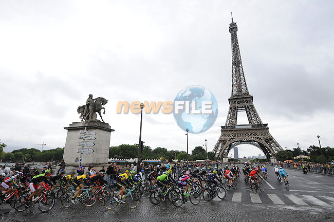 Riders approach The Eiffel Tower in Paris during Stage 21 of the 2015 Tour de France running 109.5km from Sevres to Paris - Champs Elysees, France. 26th July 2015.<br /> Photo: ASO/B.Bade/Newsfile