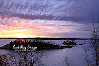 A wintery sunset at Pomham Rocks Lighthouse